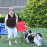Debra with her shelties for members gallery.