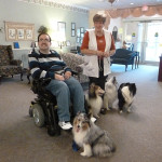 Guy Long with Debra Warfield at Nusing Home with their Shetland sheepdogs.