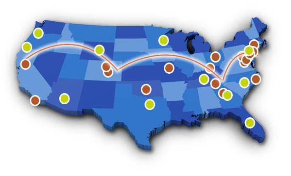 US Map of AKC Reunite Pet Disaster Relief.