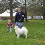 Ann with Sofia & Liz - example of a Samoyed.