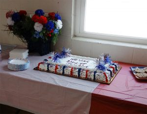 We treat our judges good! Picture shows a 4th of July cake.
